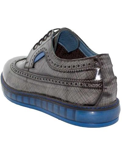 Checkered Rugan Erkek Ayakkabı Mavi-Gri