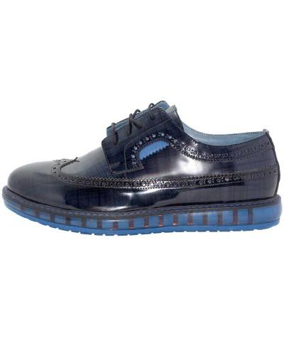 Checkered Rugan Erkek Ayakkabı Mavi